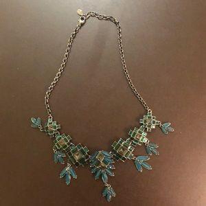 LOFT emerald green statement necklace